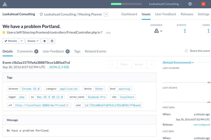 Building Startups Logging - Sample Error Report in Sentry We have a problem Portland