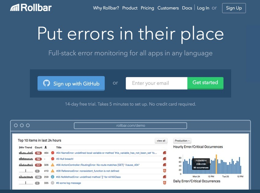 Building Startups Logging - Rollbar Home Page