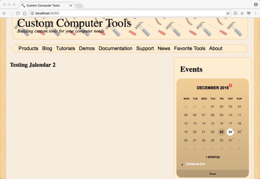 The Test Website with Jalendar 2