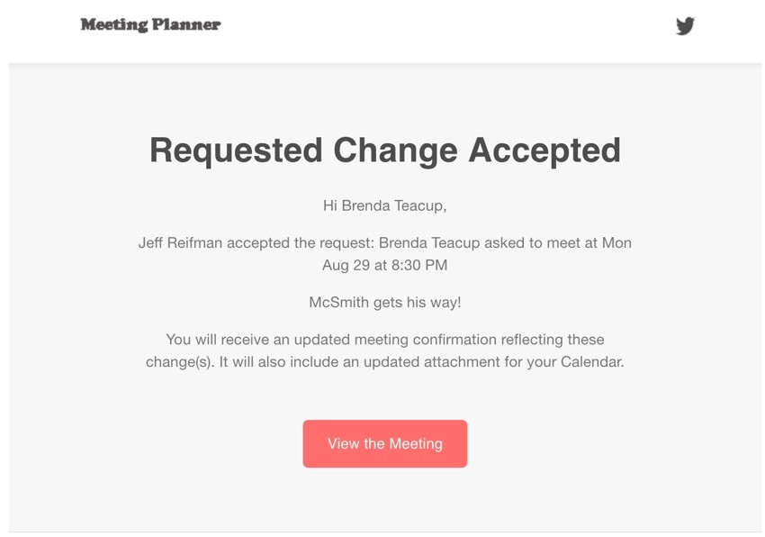 Startup Series Group Scheduling - Email Notification that Change was Accepted