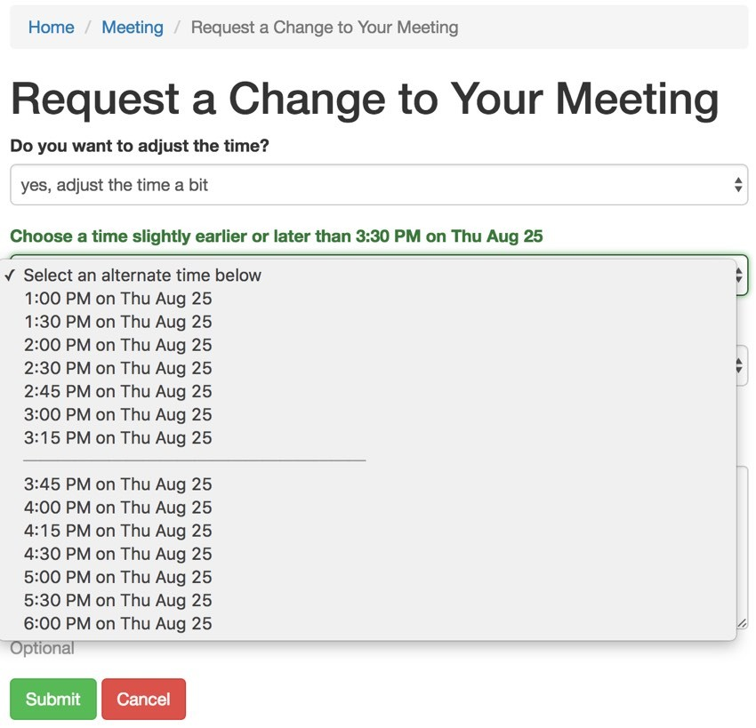 Build Your Startup Request Scheduling Changes - Enhanced Request Form with Separator