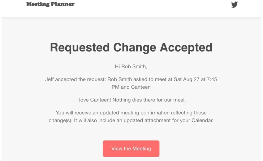 Build Your Startup Request Scheduling Changes - Email notification of requested change being accepted