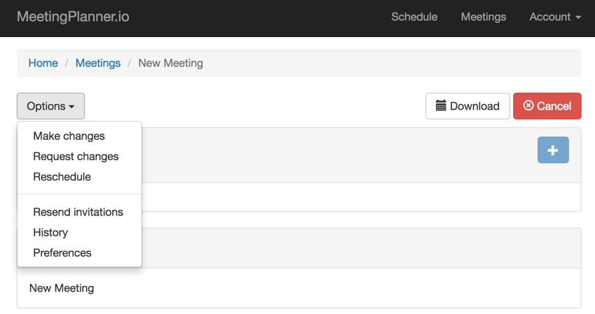 Build Your Startup Request Scheduling Changes - Options  Menu Request Changes