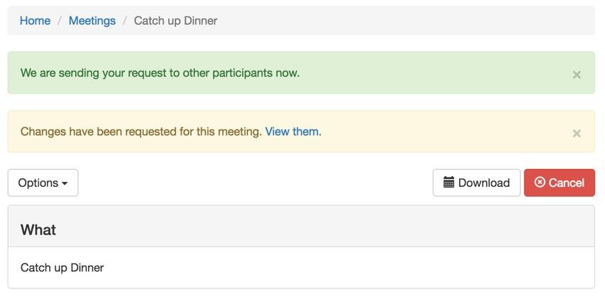 Build Your Startup Request Scheduling Changes - Meeting page View Requests