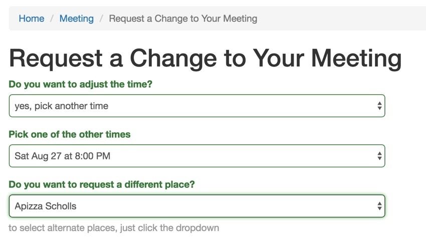 Build Your Startup Request Scheduling Changes - Selecting a different place