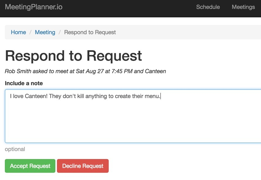 Build Your Startup Request Scheduling Changes - Respond to Request Form - Accept or Decline
