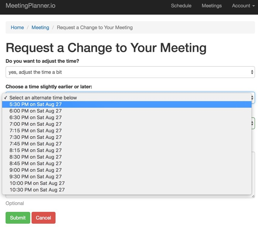 Build Your Startup Request Scheduling Changes - Request a Change Form