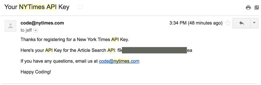New York Times API - Email with API Key