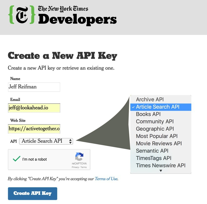 New York Times API - API Sign Up Page