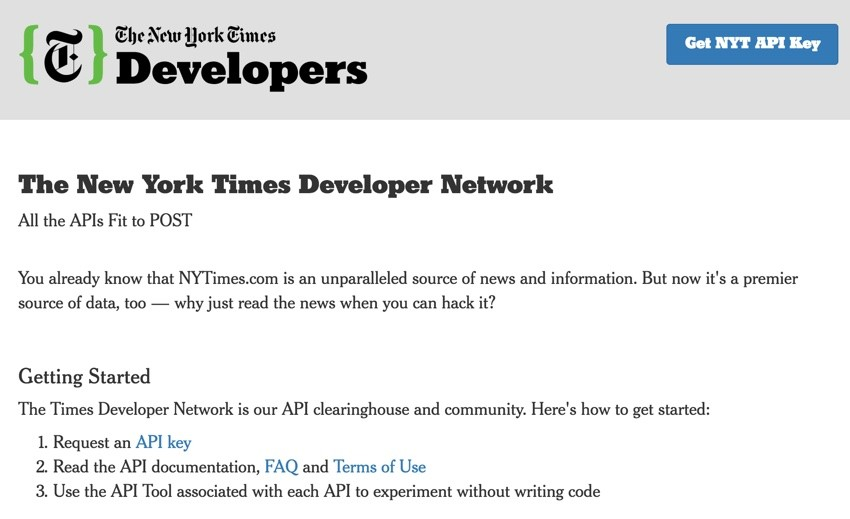 New York Times API - API Gallery Home Page
