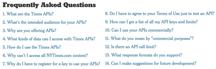New York Times API - FAQ