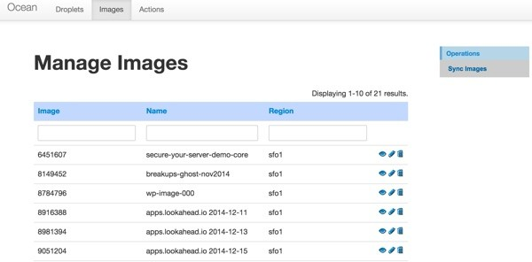 Digital Ocean API Console Manage Your Images