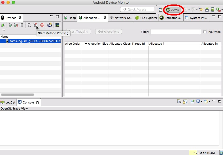 In the Android Device Monitor select the DDMS tab followed by Start Method Profiling