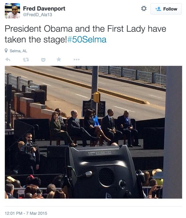 President Obama in Selma via the Twitter API
