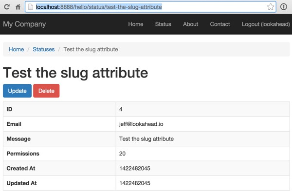 Accessing the Status page via a Slug