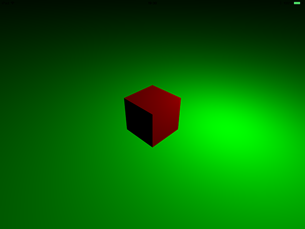 Red cube and green plane