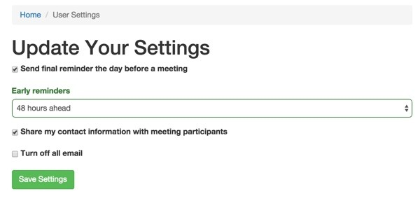 Meeting Planner Update Your Settings