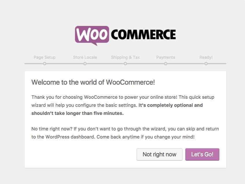 Setting up WooCommerce
