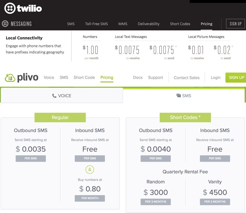 Building Startups Text and SMS - Pricing Comparison Twilio vs Plivo