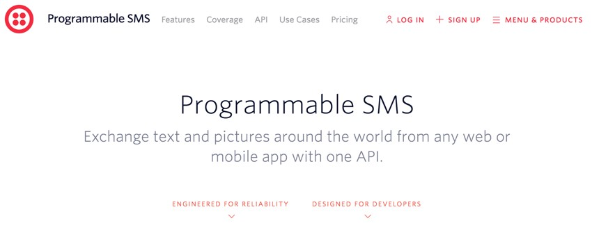 Building Startups Text and SMS - Twilio Home Page for SMS Features