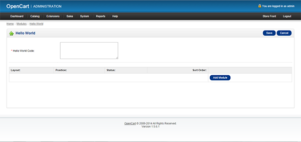 OpenCart admin page