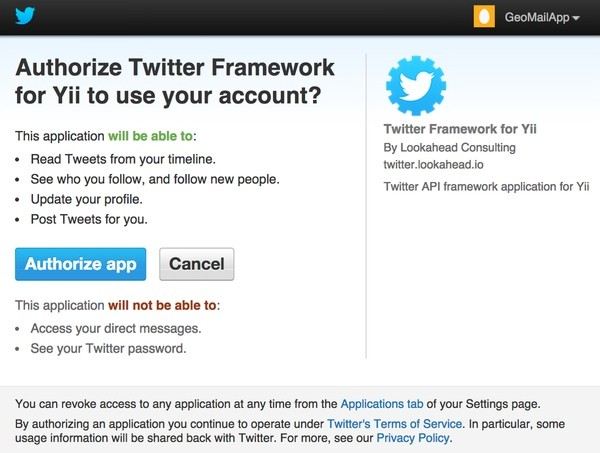 Authorize app for Twitter API
