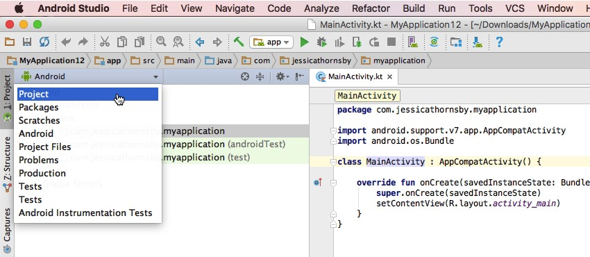 Open Android Studios Project Explorer menu and select Project