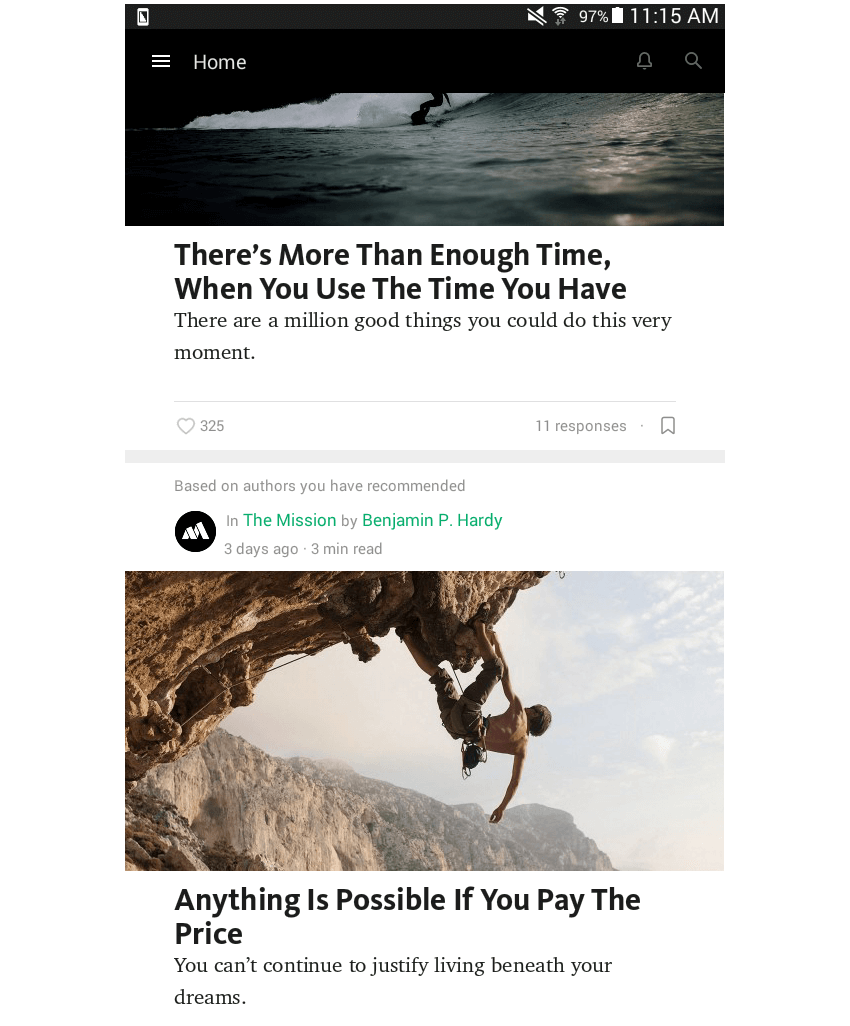 news layout Medium app