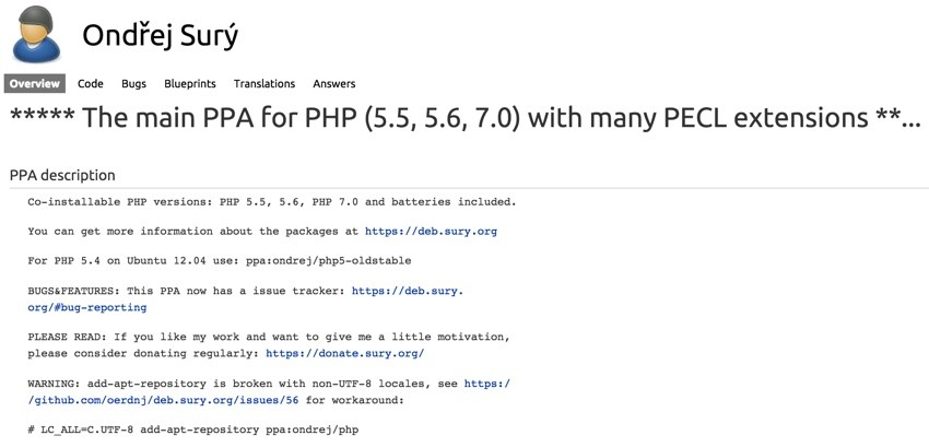 Upgrading to PHP7 PPA for PHP70 by Ondej Sur