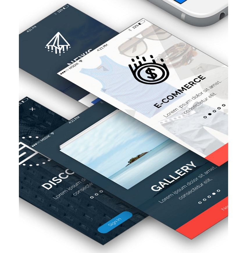 Bajing UI kit sample screens