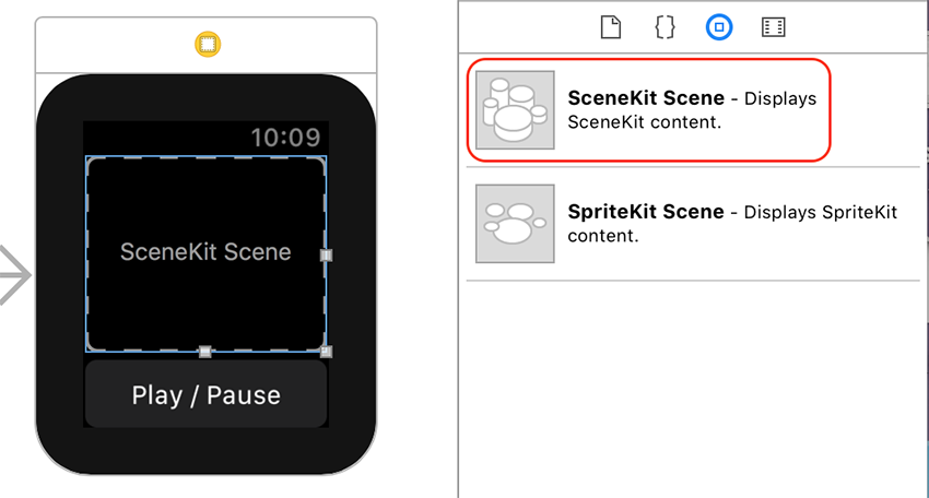 SceneKit Scene Interface Item