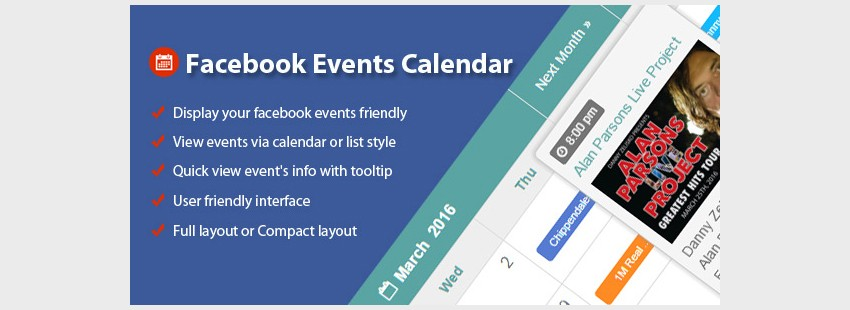 Facebook Events Calendar For WordPress
