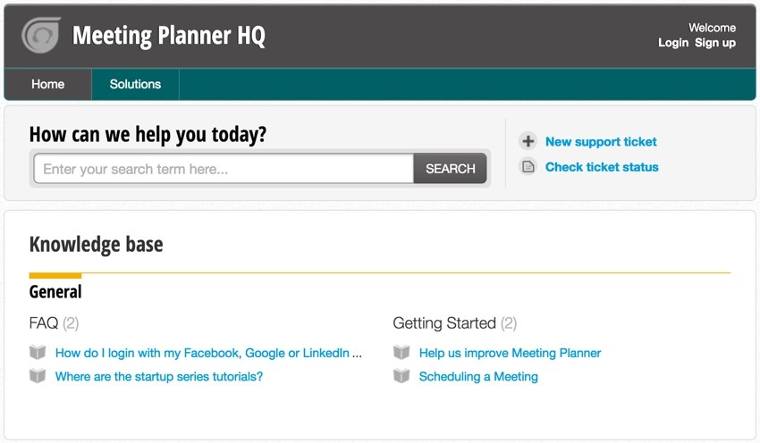 Meeting Planner Support - Final Support Home Page
