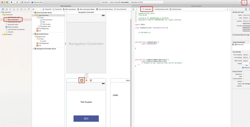 XCode window split into two parts
