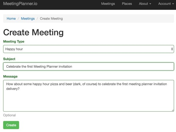 Meeting Planner Invitation - Create a Meeting