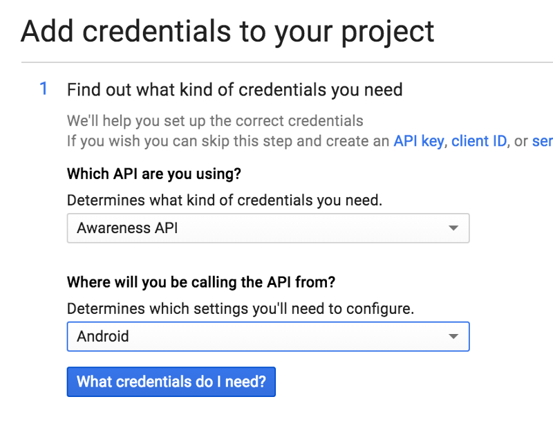 Google API Console Add credentials to your project