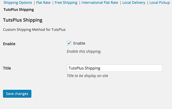 The TutsPlus Shipping Options Screen
