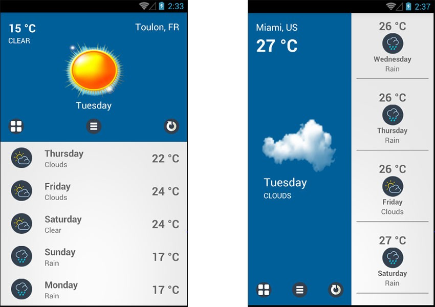 Weather Pro app template screenshots