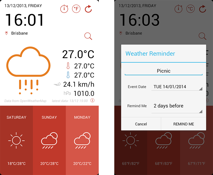 Weminder app template screenshots