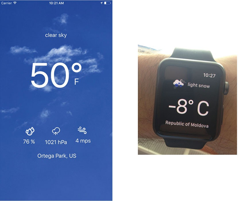 Weather App template screenshots