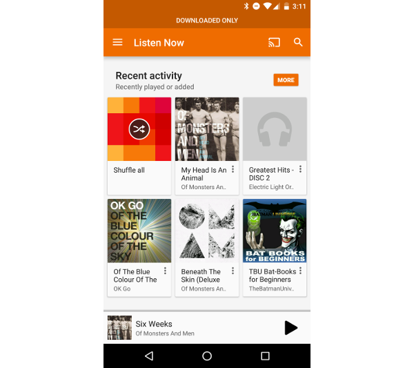 Google Play Music Grid of Items