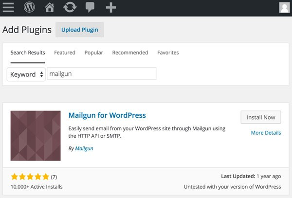 Mailgun Plugin - Search for the Mailgun Plugin to Install Now