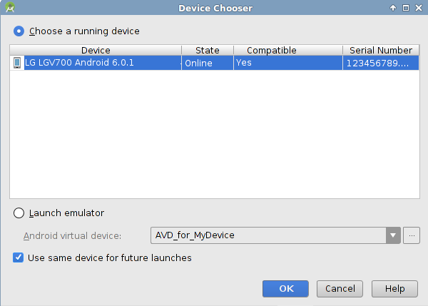 List of Running Devices on Android Studio