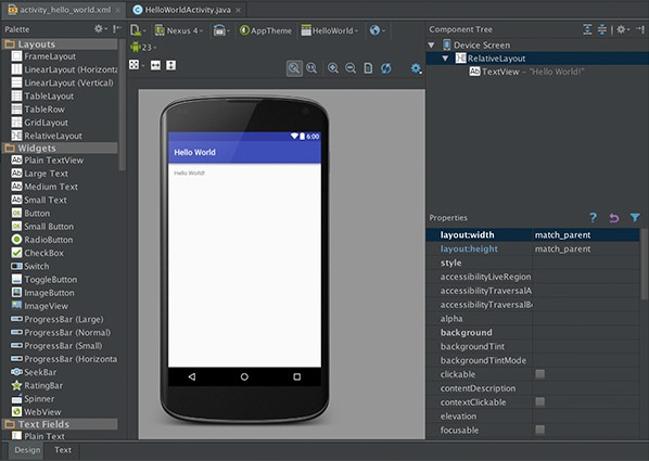 The WYSIWYG Editor of Android Studio