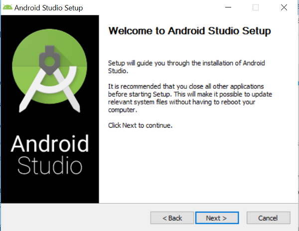 Windows Android Studio Welcome Screen