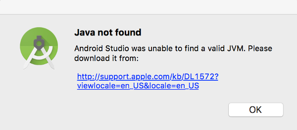 OS X Java Not Found Dialog