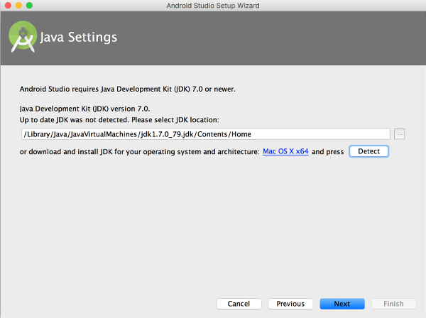 Android Studio Java Settings
