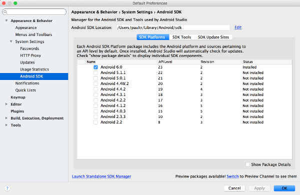 Android Studio SDK Manager