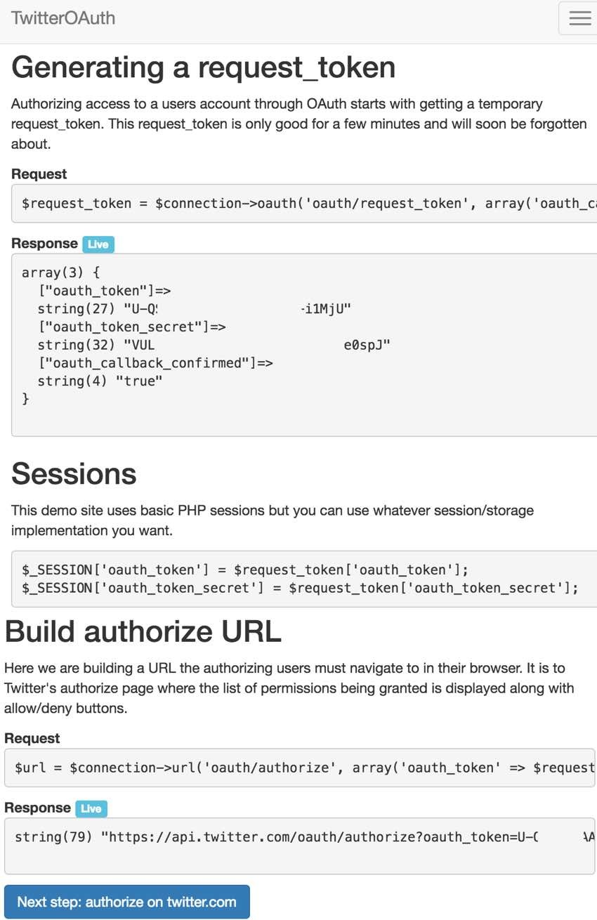 Building with the Twitter API Step from TwitterOAuth Walkthrough