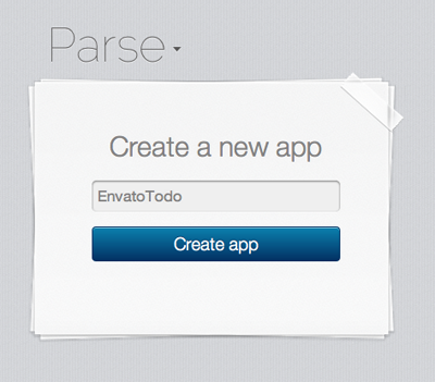 Create a new Parse App